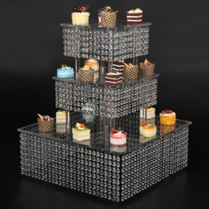 3 Tier square Cake Stand For Birthday Wedding Party, cupcake stand