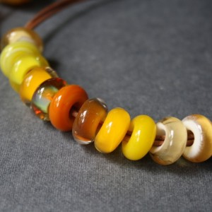 Glass Beaded Necklace - Yellow Amber Color