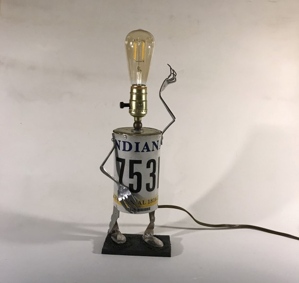 Mr. Plate Assemblage Lamp Robot by Jeffery Weatherford