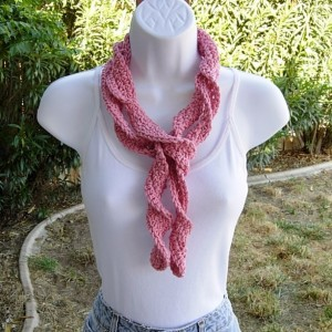 Women's Rose Pink Skinny SUMMER SCARF Small 100% Cotton Spiral Crochet Knit Narrow Lightweight, Twisted, Solid Light Pink Beach Scarf, Crochet Necklace, Ready to Ship in 3 Days