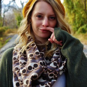 I Mustache You a Question Skully Steel Brown Infinity Scarf, Women's Skull Mustache Loop Scarf