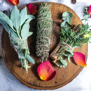 Winter Vibes Altar Set, 3 Bundles, Smudging, Homegrown Sage, Cypres and Rosemary, Energy Cleansing, Uplift, Recharge