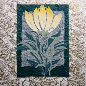 Handcrafted - Torn Paper Pale Yellow Lily, 11 X 14