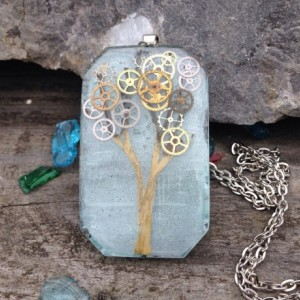 Resin Pendant  Gearing Tree Hand Painted Steampunk Necklace