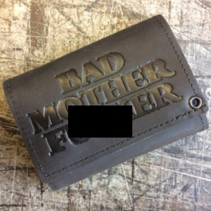 "Mature Bad Mother F*cker Mens Basic Trifold Wallet with snaps, 18"" CHROME CHAINS ONLY, US Military Key FOB,Army,Navy,Marine,Vets,AF"