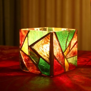 Mosaic Candle Holder, Stained Glass Candle Holder
