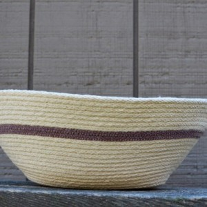 coiled rope basket with handles, natural white and brown
