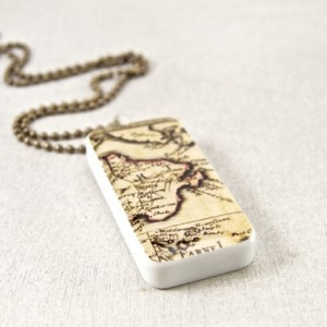 Vintage Style World Traveler Domino Necklace