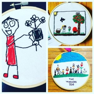 8 inch Hoop, Your Child's Art Work, Your Child's Drawing, Custom Embroidery Hoop, Embroidered Wall Hanging, Custom Artwork, Embroidered Children's Art