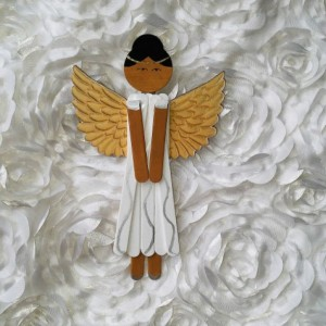 Wooden Angel Art / Ethnic Angel / Sparkling White with Gold Wings / Wooden Hanging Angel Decoration / Personalized Angel Art