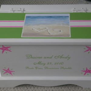 Beach Destination Wedding Keepsake Chest Memory Box personalized baby gift