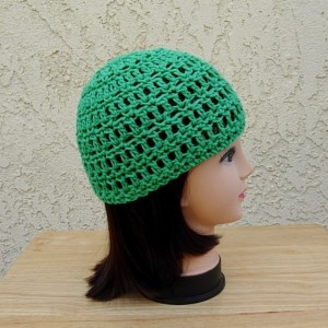 Solid Green Summer Beanie, 100% Cotton Lacy Skull Cap, Women's Crochet Knit Sun Hat, Lightweight Thin Chemo Cap, Ready to Ship in 3 Days