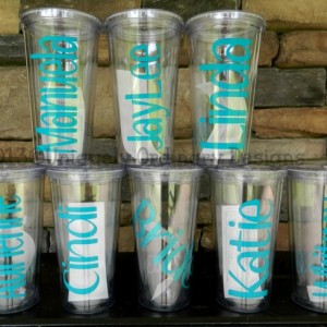 Set of 7 Custom Personalized Bridesmaids Cups with Glitter Vinyl for the BRIDE  Names and dates Makes a great Gift