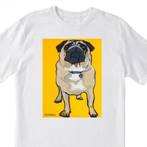 """POP Art- """"Pug with Yellow Background""""- 100% Cotton T-Shirt for Men, Women & Youth by A.V.Apostle"""