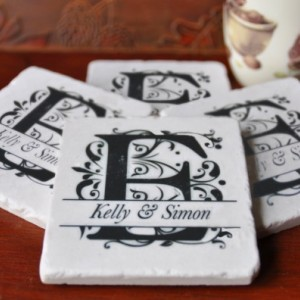 Monogrammed Coasters. Ideal for Wedding, Anniversary, Birthday, Christmas, Valentines Day, a Variety of Options, Unique Gift. Handmade