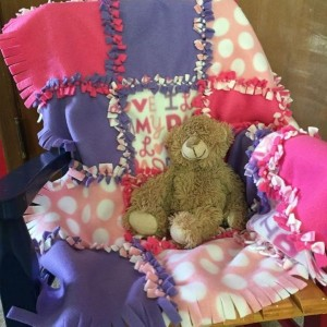 Knotted Receiving Blanket Baby Girl by Give A Yarn Crafts