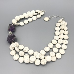 Chunky White Howlite Statement Necklace, White Chunky Necklace, Bead Necklace, Amethyst Necklace, MultiStrand Necklace, White Stone Necklace
