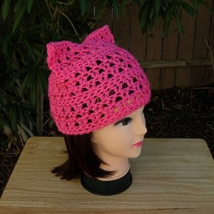Hot Pink Pussy Cat Hat, Summer Lace PussyHat Lightweight Soft Acrylic Crochet Knit Solid Dark Neon Bright Pink Thin Spring Warm Weather Beanie, Ready to Ship in 2 Days