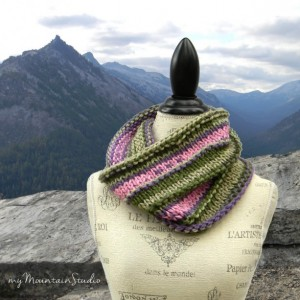Bouquet - Ladies Hand Knit Cowl in Pink Purple and Green
