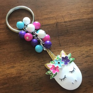 Unicorn Keychain, Unicorn Bag Charm, Floral Unicorn, Graduation Gift, Rearview Mirror, Gift for Her, Colorful, Floral Crown Unicorn
