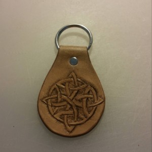 Handtooled Celtic Knot Keychain Fob