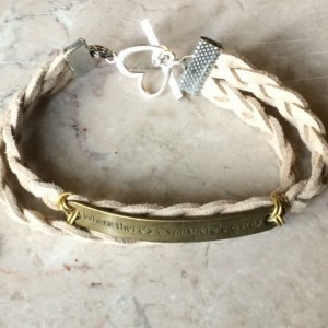 """Beige/ natural color braided leather bracelet with bronze tone plate connector said """"Where there's a will there's a way""""& heart claps B00244"""