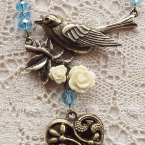 Victorian Bird Necklace with Roses and Dangling Heart