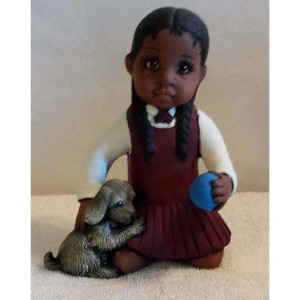 African American Girl with Dog
