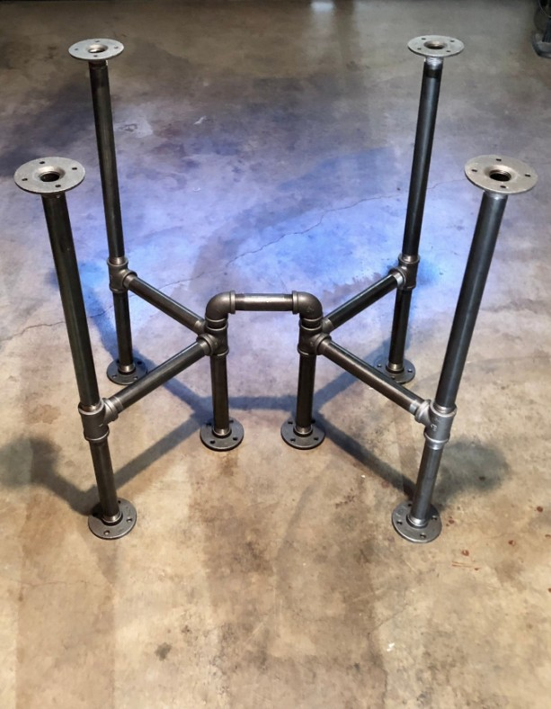 "Industrial Black Pipe Cross Table Base, ""DIY"" Parts Kit, Unique Table Base Design, 28"" long x 22"" wide x 30"" tall"