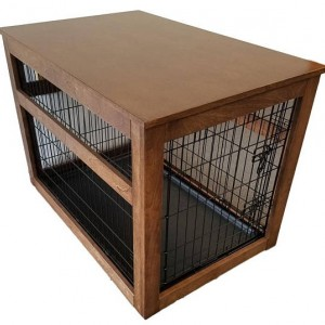 Small Wooden Cover for Wire Crate for Dog or Cat, End Table, Night Stand, Made in USA, Choice of Stain