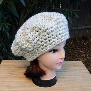 Off White Chunky Beret Cap, COLOR OPTIONS, Slouchy Hat, Thick Bulky Warm Winter Wool Blend Women's Crochet Knit Tam, Ready to Ship in 3 Days