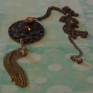 Bronze Disc Multi Layered Floral Amber Crystal Gold Chain Tassel Pendant Adjustable Chain Necklace