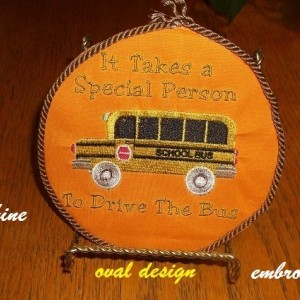 machine embroidered school bus