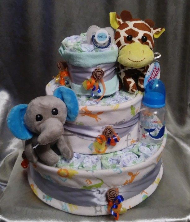 Safari 3 tier diaper cake
