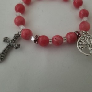 Rosary Bracelet Decade Stretch Beaded Catholic Rose Swirl Tree of Life