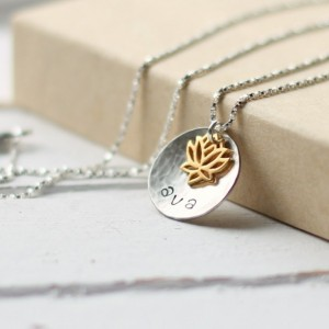 Gold Lotus Flower Hand Stamped Name Necklace
