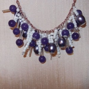 Violet Purple Amethyst Quartz and Freshwater Pearl Beaded Necklace / Real Amethyst Jewelry / Fantasy Jewelry / Charm Necklace