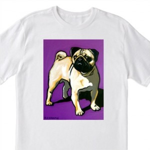 POP Art- Pug Dog with Purple- 100% Cotton T-Shirt for Men, Women & Youth by A.V.Apostle