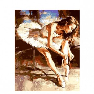 Ballet dancer tying shoelacespainting