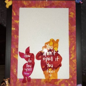 Disney Character Picture Frame/One of a Kind Alcohol Ink Frame/Unique Frame/Winnie the Pooh Frame/Winnie and Piglet Frame/Disney Frame/Love