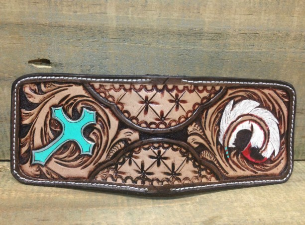 Carver front pocket wallet, feather and cross