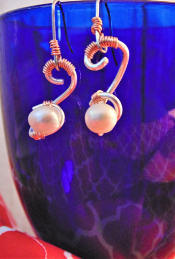 Wire Wrapped Drop Earrings, Sterling Silver, Natural Copper and Freshwater Pearl
