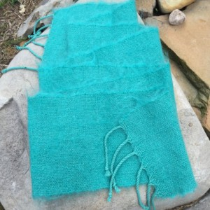 Handwoven Mohair Scarf Teal Green