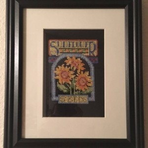 Sunflower cross stitch wall picture