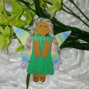Green Sparkle with Rainbow Wings Wood Pixie Charm / Hanging Pixie Art / Gift for Girl / Gift for Angel Lover
