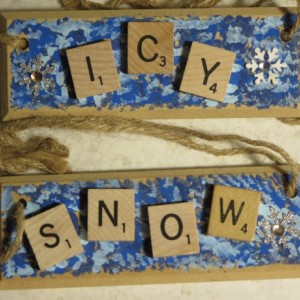 Set of 2 Scrabble® Game Tile Wooden Plaques Icy & Snow