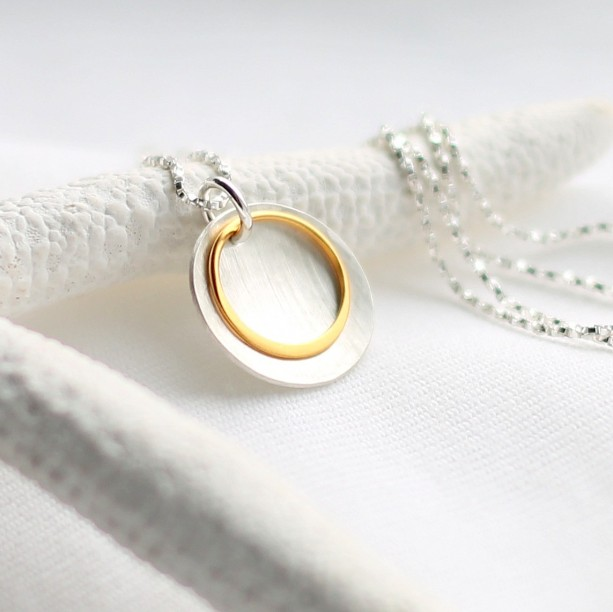 Sterling Silver Hammered Disc Necklace with Gold Ring