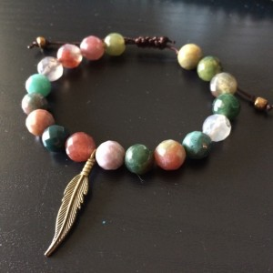 Indian agate bracelet with feather charm