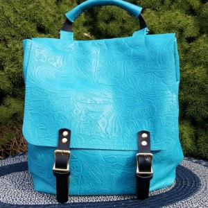 Leather backpack purse turquoise color with adjustable shoulder straps