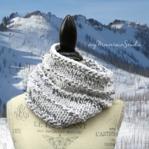 Marble - Women's Hand Knit Chunky Cowl in White and Grey